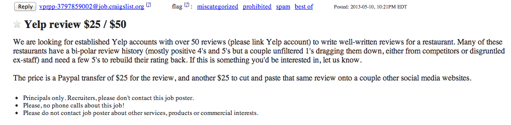 An advertisement on Craigslist seeking Yelp members to create and submit false reviews – a technique dubbed 'astroturfing' – faking grass-roots feedback.
