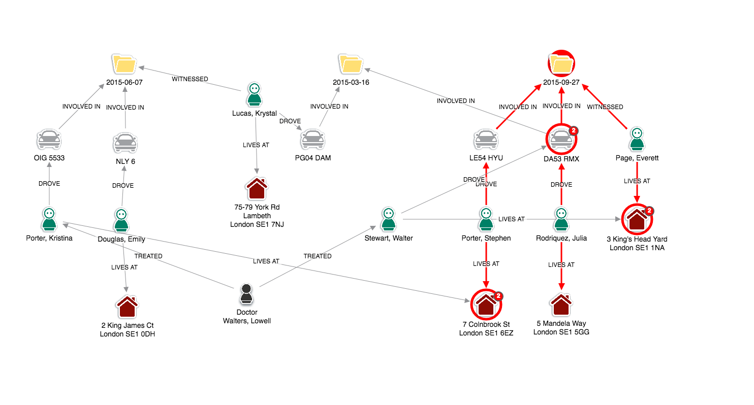 graph visualization - insurance fraud - keylines - screenshot3
