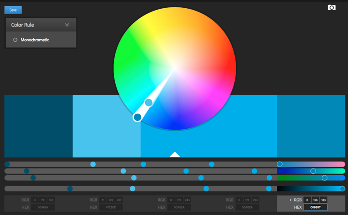 A monochromatic palette of 'KeyLines blue' created using Adobe Color.