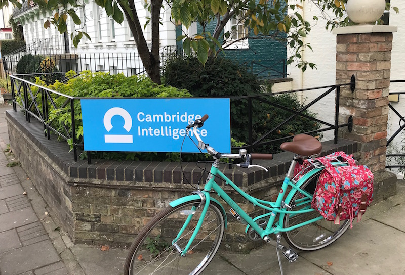 cycle outside Cambridge Intelligence office