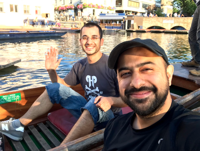 Taking a punting selfie with one of my new colleagues, Harpreet. I'm the one waving.