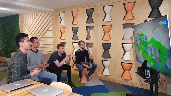 Enjoying some time-out with the other interns in one of the breakout spaces. From left to right: me, Federico, Toby and Augustin.