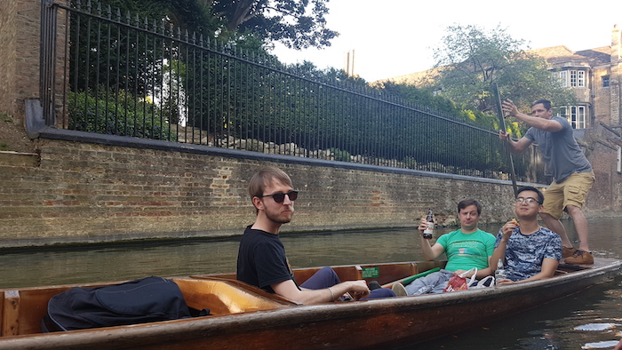 Punting is always more fun when you're passenger! At the punting social with some colleagues from back to front: Scott, me, Adrian and Augustin.