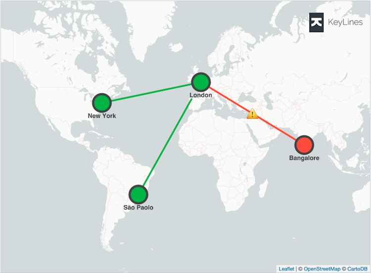 The dashboard view of a global corporation's IT network.