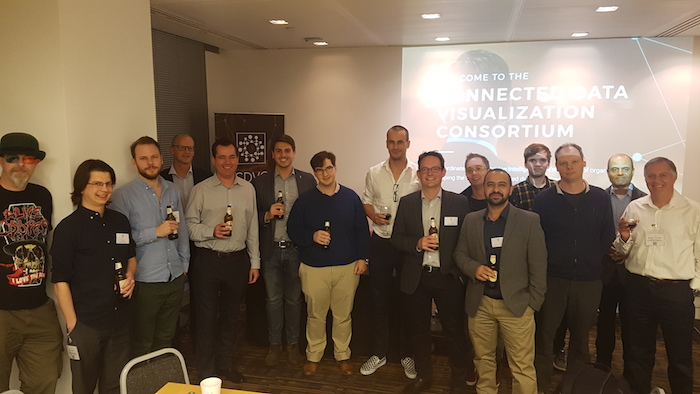 London attendees enjoying a drink at the end of the day