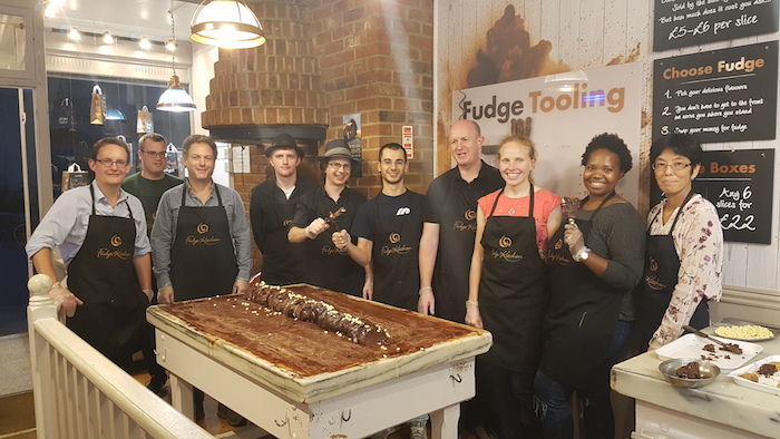 The Cambridge Intelligence crew gleaming with pride with their fudge