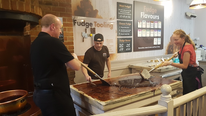 Phil and Julia perfecting their fudge-making skills