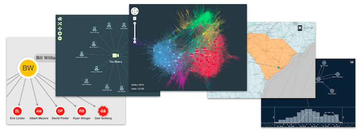 Five very different UIs, all of them powered by our graph visualization toolkit technology