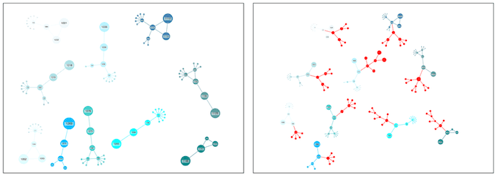 Before and after: newly-added red nodes stand out so they're easy to track.