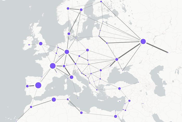 visualizing network infrastructure - Plotting our sequential data on the map.