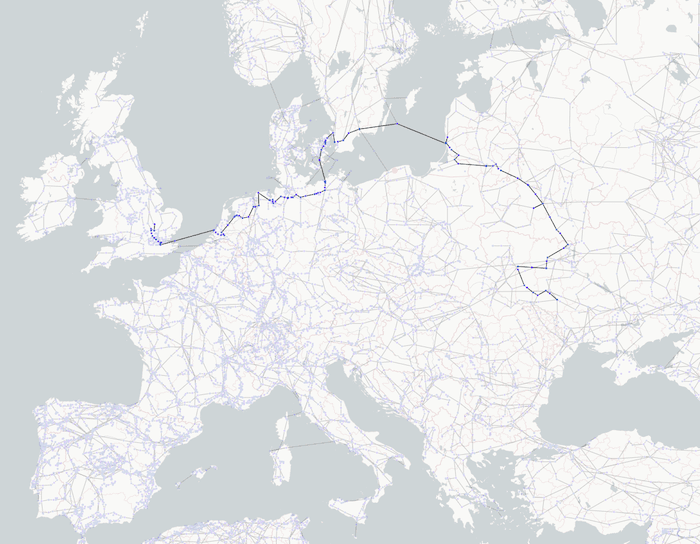 visualizing network infrastructure - The shortest path in the energy grid between Ukraine and the UK