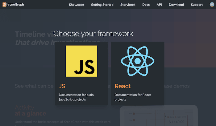 KronoGraph documentation supports both JavaScript and React versions