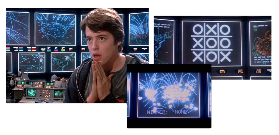 Retro cyber data visualizations, from Wargames (1983), United Artists. Image Source: IMDb