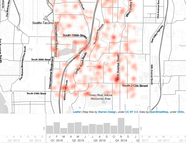 Big data and law enforcement -KeyLines Geospatial can be used to produce geographic heat maps of incidents