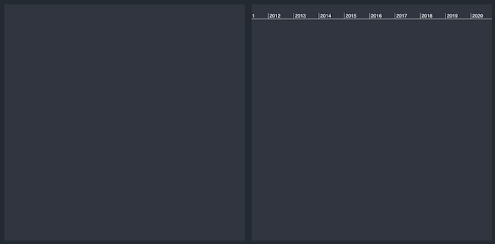Timeline visualization software example showing a blank network and timeline view.