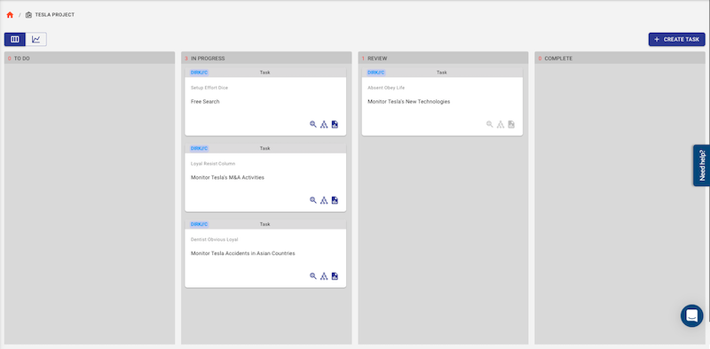 The Traversals Intelligence Platform is organized into projects, displayed in a Kanban board of tasks. Each task relates to a specific question to be answered by the system.