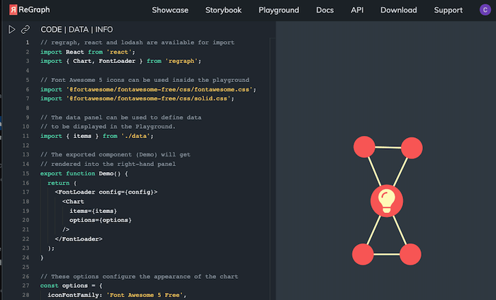 Write and share code easily using the ReGraph playground