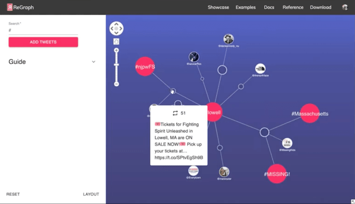 Individual tweets visualized in ReGraph, our React network visualization toolkit