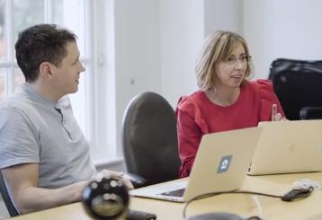 Catherine Kearns in a meeting with Scott Meintjes