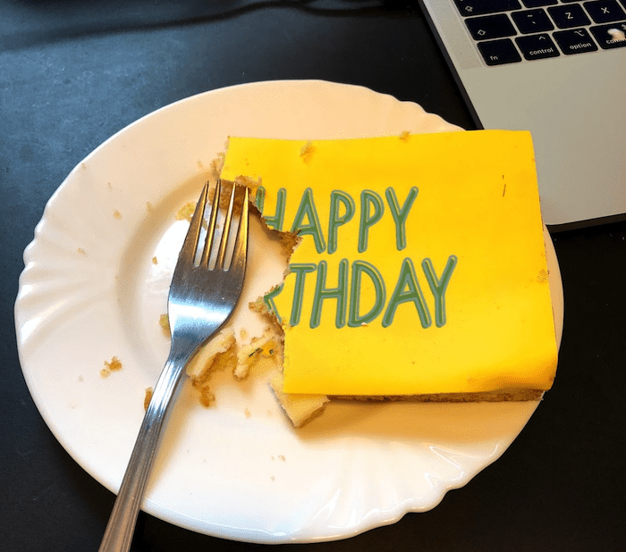A half eaten birthday cake card from the Cambridge Intelligence team