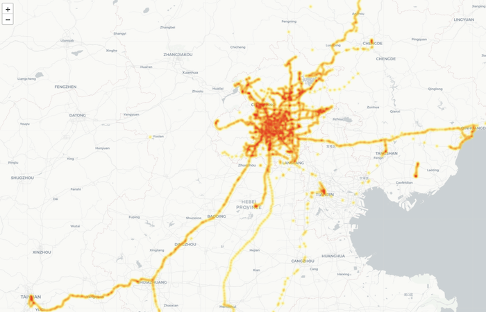 A Leaflet map of Beijing and surrounding provinces with data points representing study volunteers.
