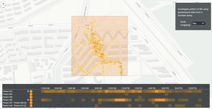 A KronoGraph interactive heatmap and Leaflet geospatial map that can identify residents of Tsinghua University.