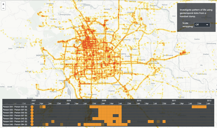 A KronoGraph interactive heatmap and Leaflet geospatial map showing GPS data points.