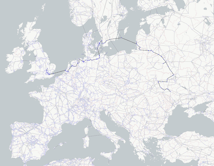A zoomed in ReGraph graph visualization and map showing the shortest path in the energy grid between Ukraine and the UK