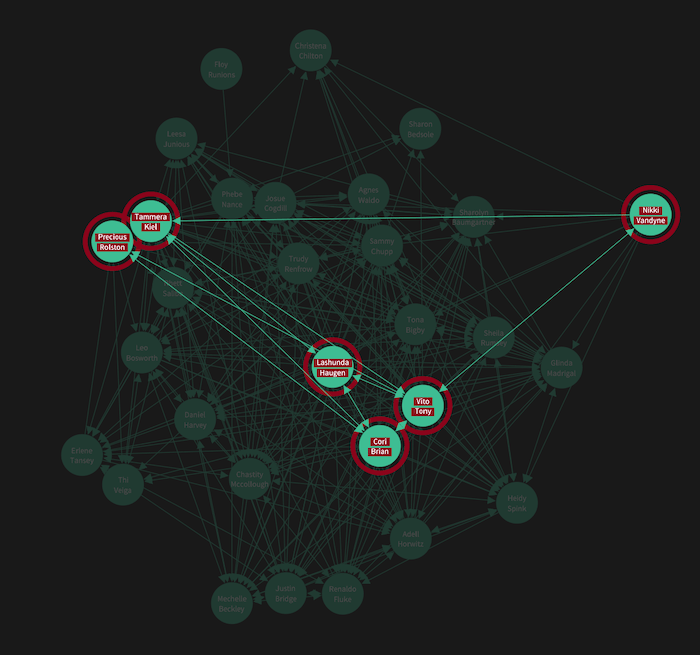Our visual network analysis tool with focus on the links between employees of interest
