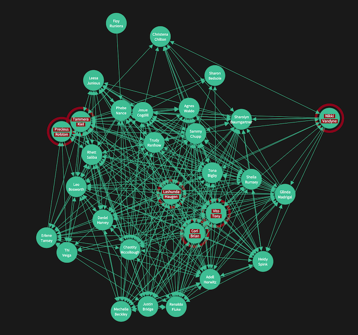 Our visual network analysis tool with nodes styled with red borders found as a result of search makes them easier to spot