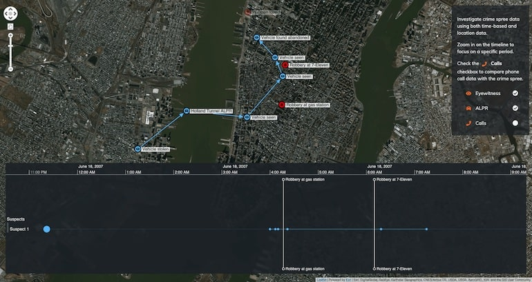 Interactive timeline tools: With ALPR data, we get a more detailed view of our suspects movements through the Holland Tunnel