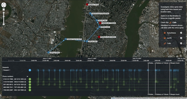 Our interactive timeline tools now contain data from four sources: robbery times, eye witness reports, ALPR matches and the suspect's phone calls